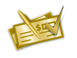 Golden Checkbook with pen and check-mark icon