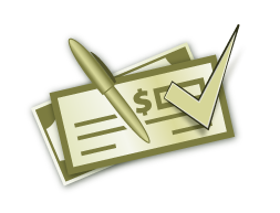 Green Checkbook with pen and check-mark icon