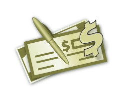 Green Checkbook with pen and dollar-sign icon